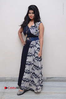 Telugu Actress Alekhya Stills in Blue Long Dress at Plus One ( 1) Audio Launch  0145.jpg