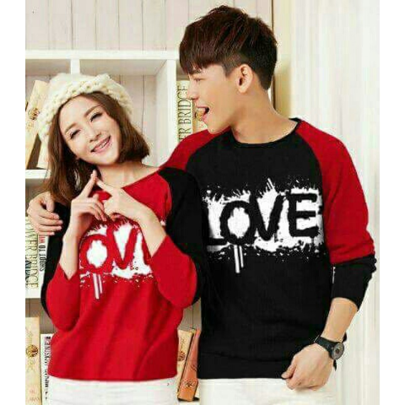 Jual Online Sweater RB Love Couple Murah Jakarta Bahan Babytery Terbaru