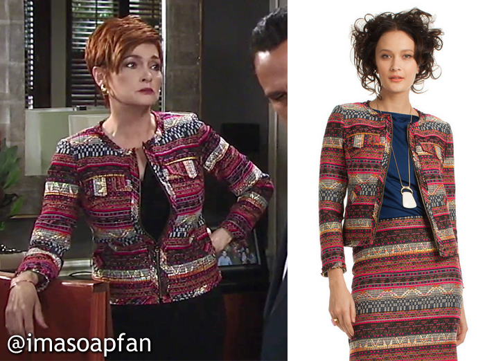 Diane Miller, Carolyn Hennesy, Multicolored Jacquard Jacket, Trina Turk, GH, General Hospital