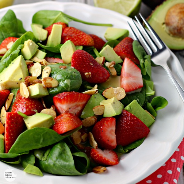 Strawberry, Avocado, and Spinach Salad with Lime Poppyseed dressing