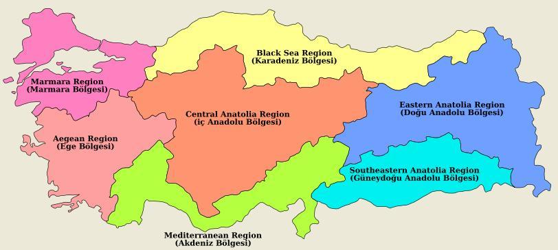 Карта Регионов Турции