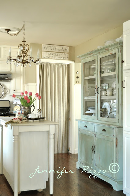 painted hutch in white kitchen
