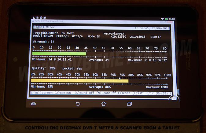 Contrôle DigiMax DVB-T Meter & Scanner à partir d'une tablette