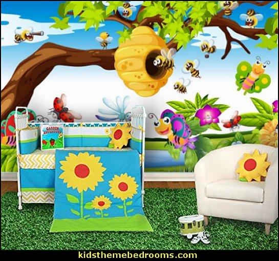 bees in springtime garden  bumble bee bedrooms - Bumble bee decor - Honey bee decor - decorating bumble bee home decor - Bumble Bee themed nursery - bee wallpaper mural decals - Honeycomb Stencil - hexagonal stencils - bees in springtime garden bedroom -  bee themed nursery - black yellow bedroom ideas