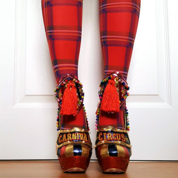 Carousel Circus shoes on feet with red glitter platform