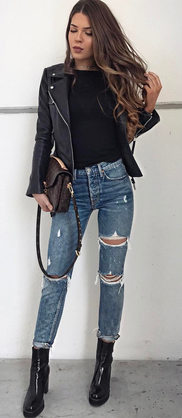 street style addict: jacket + top + rips + bag