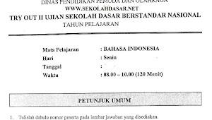 Soal Try Out II USBN SD Bahasa Indonesia dan Kunci Jawabannya