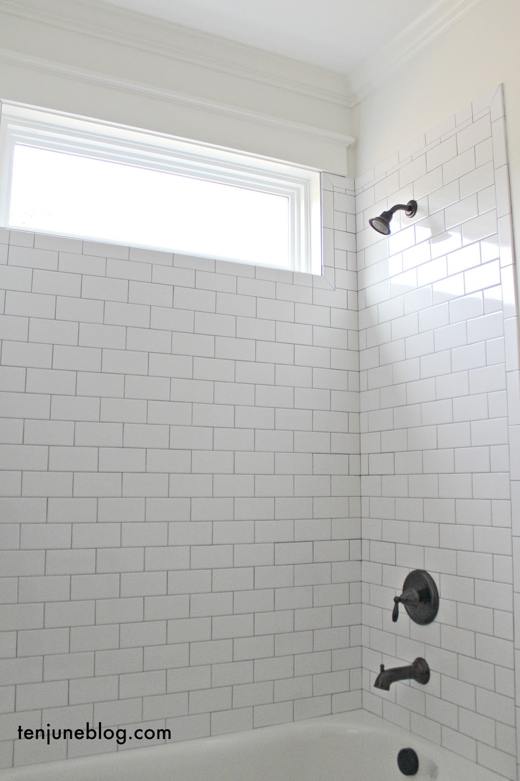 Ten june building our farmhouse tile grout sources guest bath floor grout bright white guest bathroom shower wall tile guest bath wall grout delorean gray dailygadgetfo Images