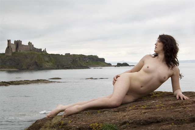 Naked little girl play