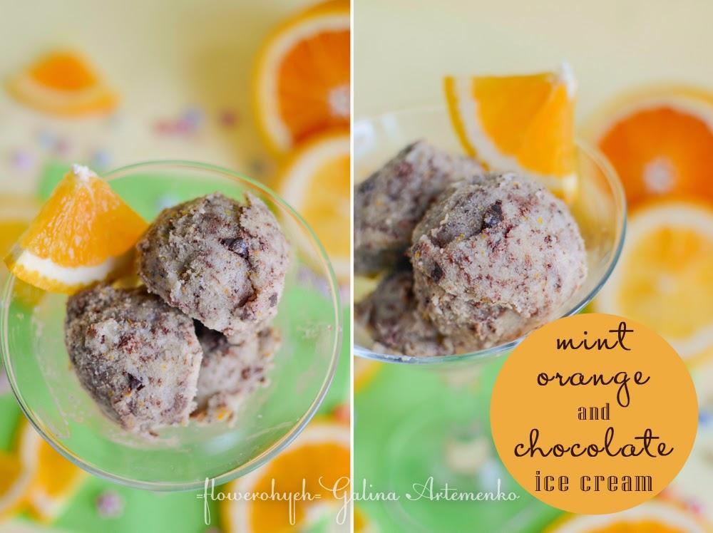 Mint orange and chocolate ice cream