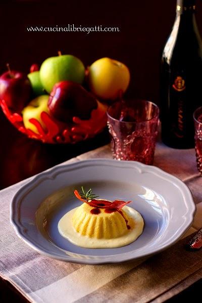 budino mele salato salsa al pecorino prosciutto croccante aceto balsamico ricetta
