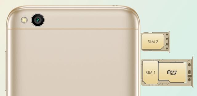 Dual Simcard Xiaomi Redmi 5A dengan slot memory card terpisah