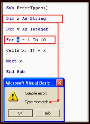 What Are The Types Of Errors Occurred In Excel Vba