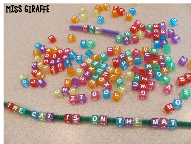 Build sentences with alphabet beads and a pipe cleaner for a ton of word work fun