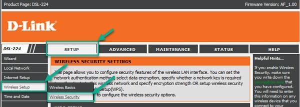 dlink dSL-224 wireless security