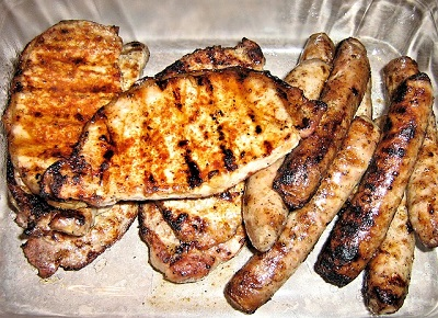 Barbecued Chicken Breast and Sausages