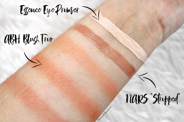 makeup swatches, ABH Peachy love swatches, nars stripped swatch
