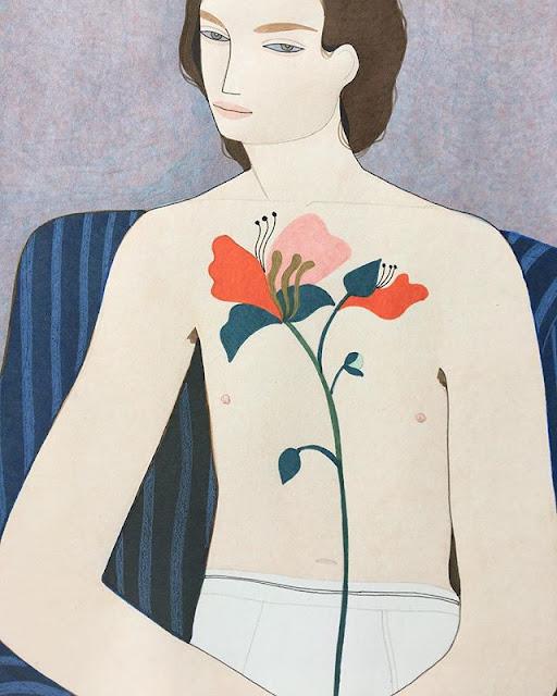 Kelly Beeman arte | dibujo en acuarela de hombre fashionista con flores