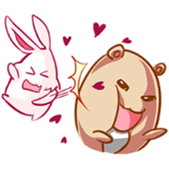 Cute Love Bear and Rabbit