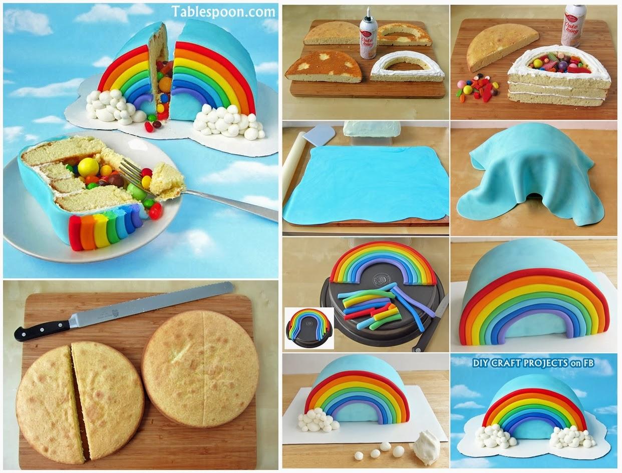 How to Make Rainbow Pinata Cake! - HANDY DIY