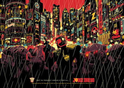 "2000 AD 40 Years of Thrill-Power Festival Exclusive Mega City Series ""Street Judge"" Judge Dredd Screen Print by Raid 71 & Vice Press"