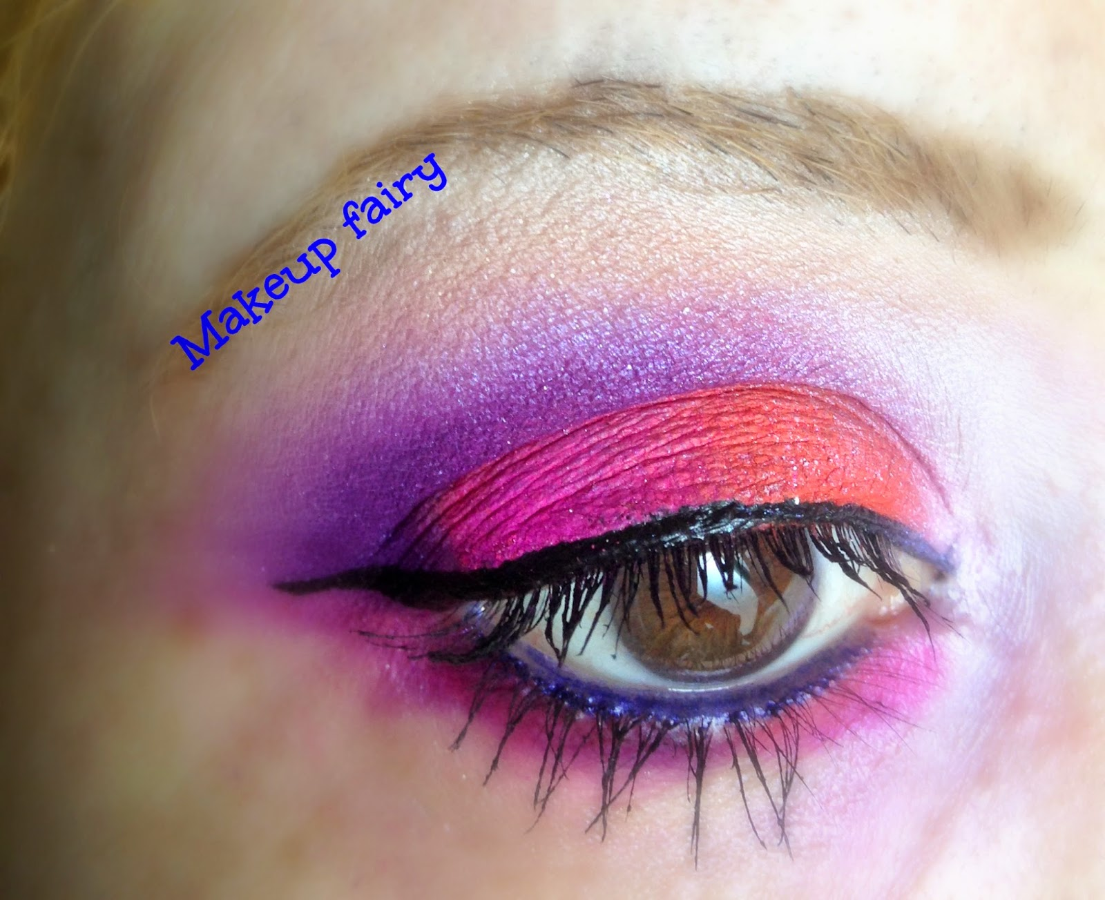 eye makeup look sunset electric neon