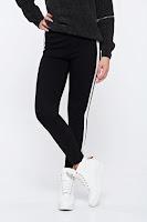 Pantaloni casual conici cu talie inalta cu dungi verticale albe •