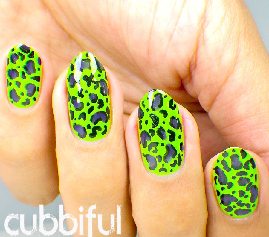 cubbiful: Trippy Leopard Print Nail Art