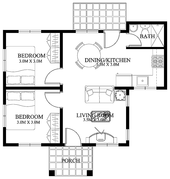 Two-Bedroom House Custom Home Designs For Free