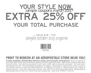 Aeropostale coupons for march 2017