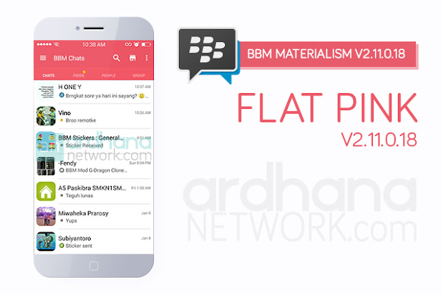 BBM Materialism Flat Pink - BBM Android V2.11.0.18