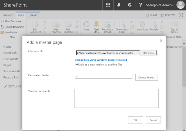 upload master page to sharepoint online