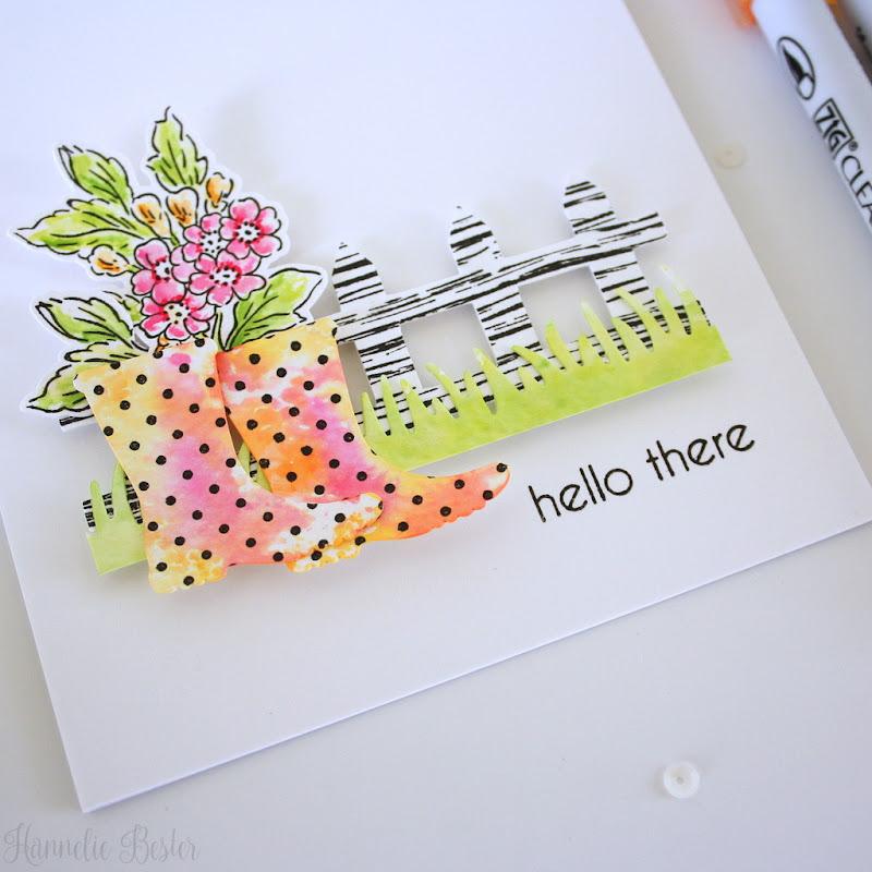 Swiss dot wellies - watercolor - hello - handmade card