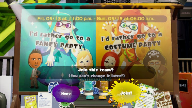 Splatfest decision Fancy Costume Party