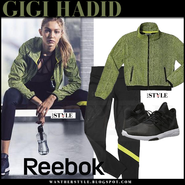 Gigi Hadid in green jacket, black leggings and black sneakers Reebok ad 2016