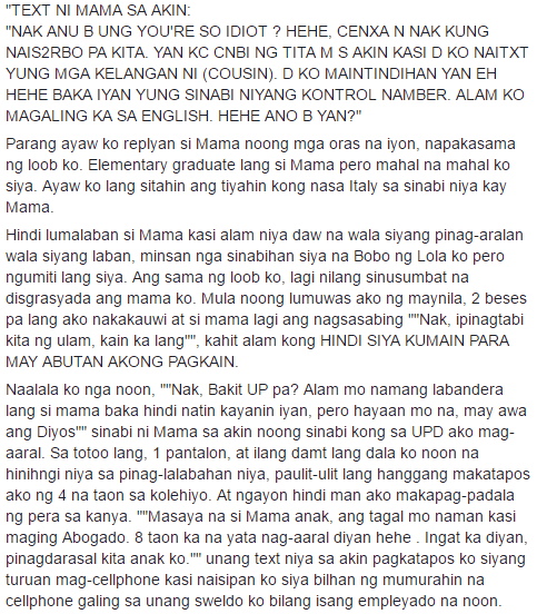 His Aunt Called His Mother 'Id*ot.' The UP Diliman Honor Student's Touching Reply Will Make You Cry