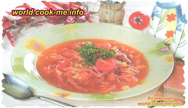 Картофельный суп с макаронами и помидорами