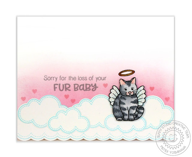 Sunny Studio Stamps: Pet Sympathy Sorry For the Loss of Your Fur Baby Cat Angel Card by Mendi Yoshikawa