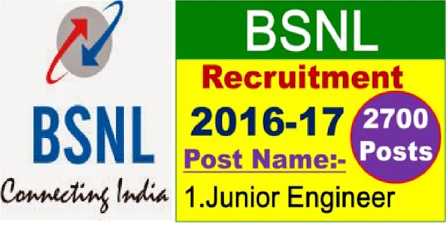 BSNL Recruitment 2016 – Apply Online for 2700 Junior Engineer Posts| Bharat Sanchar Nigam Limited (BSNL) has issued a notification for the recruitment of 2700 Junior Engineer vacancies on temporary or permanent basis./2016/06/bsnl-recruitment-2016-apply-online-for2700-junior-engineer-posts.html