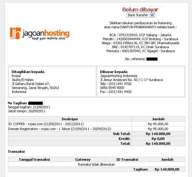 Cara Hosting Website Untuk Toko Online - Halaman Tagihan