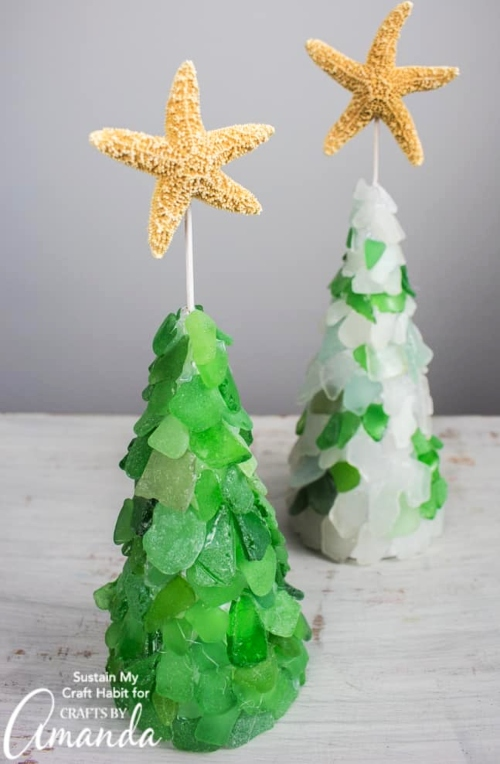 Seaglass Cone Trees DIY