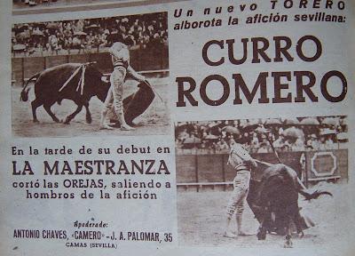 Resultado de imagen de DEBUT DE CURRO ROMERO