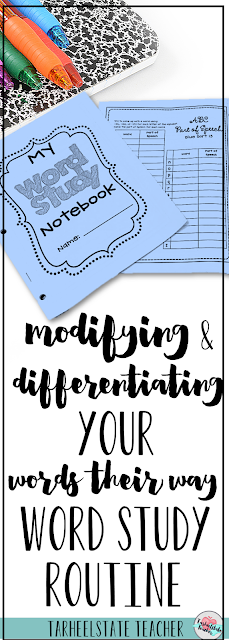 Are you hoping to tweak your word study routines to better meet your students' needs? I've got a few modifications, suggestions, tips, and ideas for differentiation in your Words Their Way word study activities. Those lower and higher spellers often need something a little different and these ideas are useful for 2nd, 3rd, 4th, 5th, and 6th grade classrooms. Plus a link to a FREE word study resource!