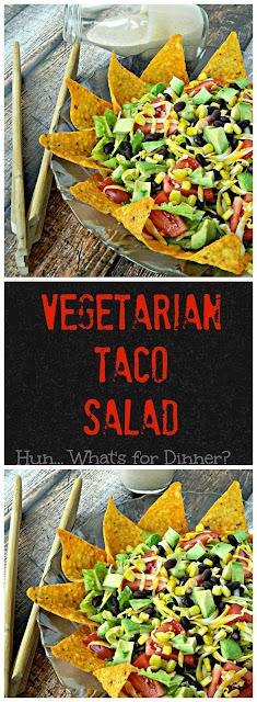 Taco Salad, Vegetarian Taco Salad, Creamy Taco Dressing