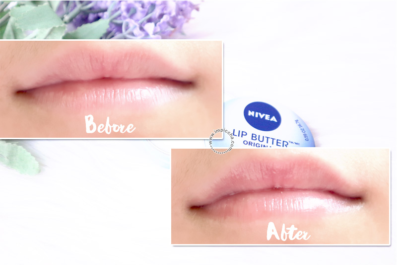 Before - After menggunakan Nivea Lip Butter Original