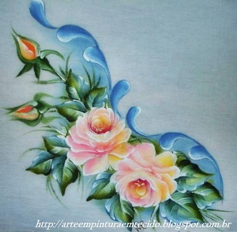 pintura em tecido flores pano de prato rosas