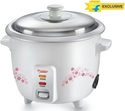Prestige Delight PRWO - 1.5 Electric Rice Cooker with Steaming Feature (1.5 L, White)