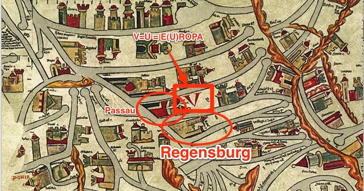 ebstorfer weltkarte beschreibung Regensburg historisch: 1300   Regensburg auf der Ebstorfer Weltkarte