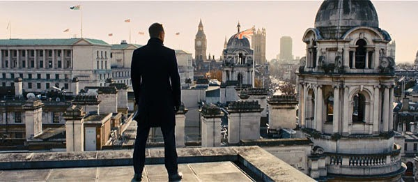 James Bond looks over London in Skyfall