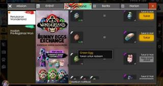 cara menukarkan telur untuk setiap hadiah caranya sangat mudah, survivors tinggal masuk di menu Event Wonderland di dalam Game